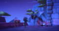 Night Ninja and the Ninjalinos back away from the cave in fear