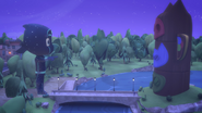 PJ Masks Headquarters and Night Ninja's statue in Catboy Power Up
