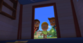 The PJ Masks continue to look inside the room.