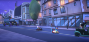 Catboy driving past the villains that crashed.