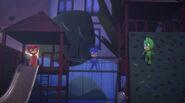 The PJ Masks playing as Luna Girl, Night Ninja, and Romeo