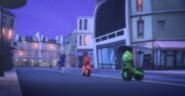 The PJ Masks on their PJ Rovers, going to the Mystery Mountain portal