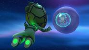 Gekko floating towards Octobella 1