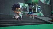 PJ Robot and Romeo take a break