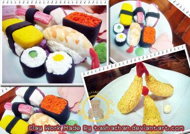 Clay Work Japanese Food by tashachan.jpg
