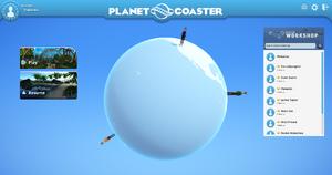 Main Menu screen - Planet Coaster