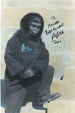 Autographed Felix Silla picture from the set of 'Planet of the Apes'