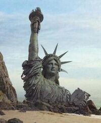 The remains of the Statue of Liberty