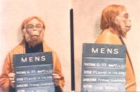 Joe Wong in make-up/costume test for 'Planet of the Apes'