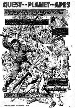 'Quest for the Planet of the Apes' splash page; art by Rico Rival