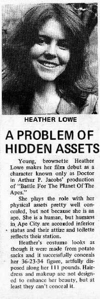 The Battle promo material gives it's assesment of Heather Lowe