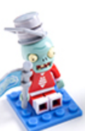 Future Buckethead Zombie Minifigure (flag accessory)