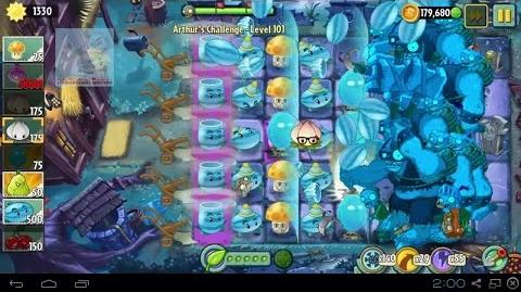 Arthur's Challenge Level 101 to 105 Boost Battle Plants vs Zombies 2 Dark Ages