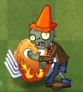 Conehead Zombie Eating Explode o Nut (PvZ 2)