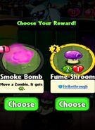 Choice between Smoke Bomb and Fume-Shroom