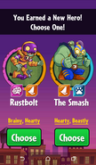 The player having choice between Rustbolt and The Smash