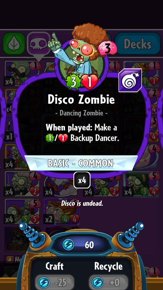 Disco Zombie (PvZH)/Gallery