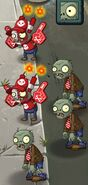 Two Super-Fan Imps and Three Zombies