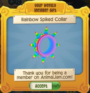 Rainbow Spiked Collar