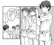 Senpai and his classmates watches the girls during judo tournament