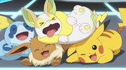 Ash Pikachu, Goh Sobble, Chloe Eevee and Yamper