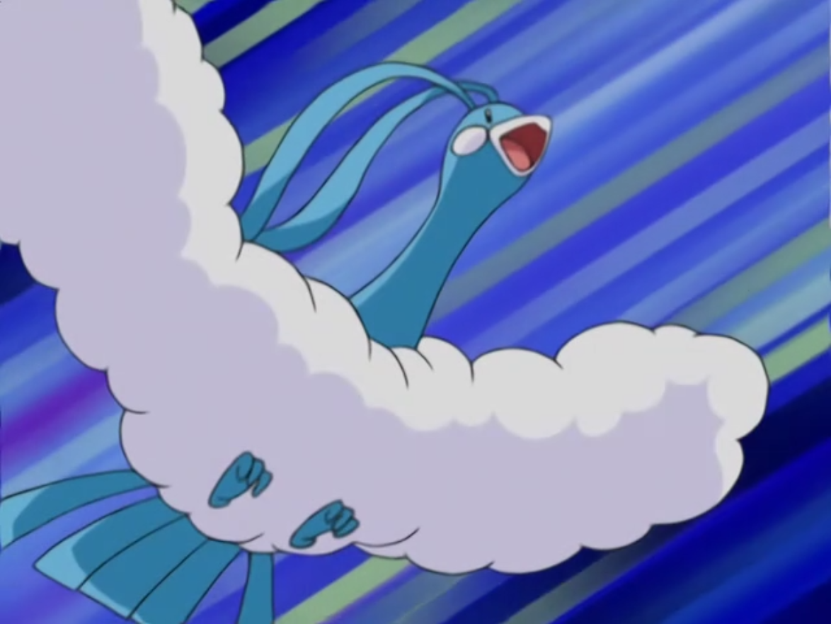 Drake's Altaria was sent out to battle against Ash's Grovyle.