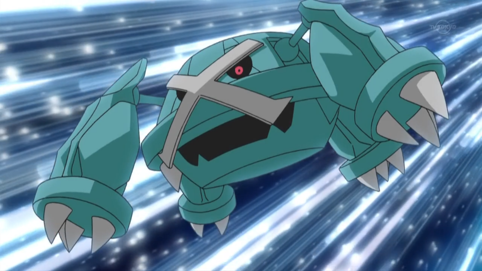 Metagross lived on the same mountain as Magnezone and, as it was also a Steel type, also gained a lot of power from the mountain's magnetic fields that it could only release by battling. When the trench used for battling was flooded, it started battling Magnezone in a nearby town and was only stopped from destroying the town when the water in the trench was removed.