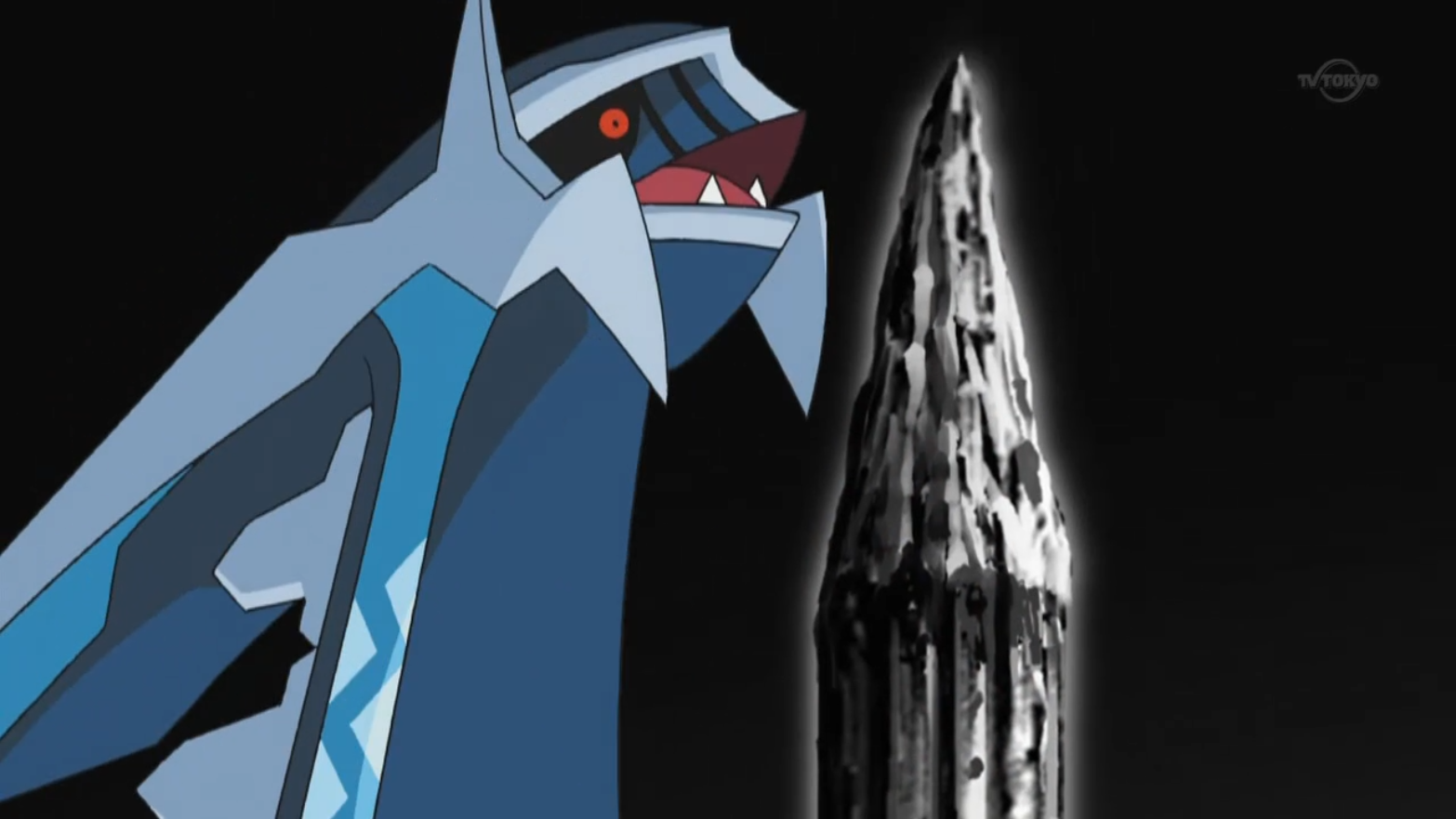 Dialga, along with Palkia, was summoned by Cyrus on the Spear Pillar. They were under his control through the use of the Red Chain and were tasked by him to open a portal to another dimension, wanting a world of his own. After the Red Chain's destruction and Cyrus's exit, Dialga, as well as Palkia, begins to rampage, creating a danger for the entire region of Sinnoh. However, the two were calmed down and sent away with the help of Azelf, Mesprit, and Uxie.