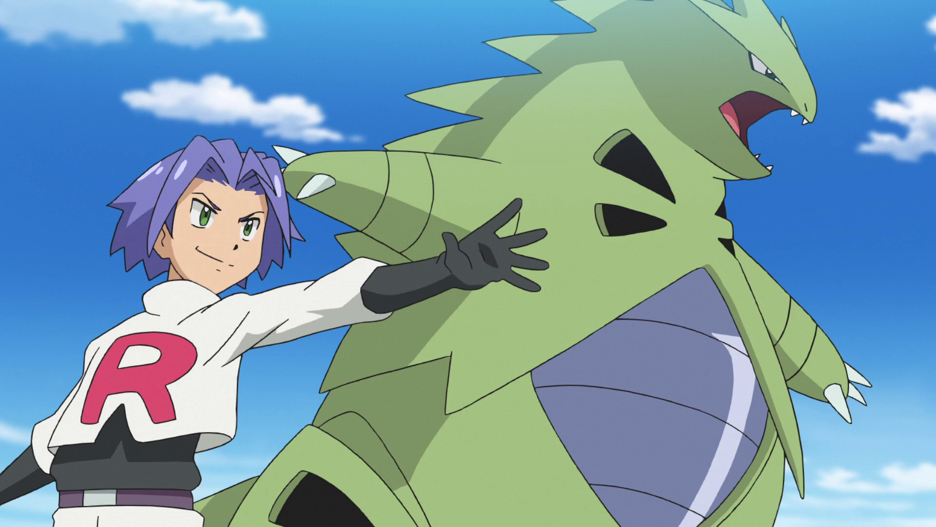 James used Tyranitar to prevent Ash and Goh from foiling Team Rocket's scheme to steal a group of wild Ivysaur and Bulbasaur. It was eventually defeated by Pikachu's Thunderbolt. Tyranitar's known moves are Fire Fang, Dark Pulse, Stone Edge, and Hyper Beam.