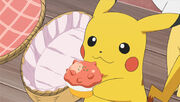 Ash pikachu having a poke puff