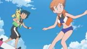 Ash and Misty surfing