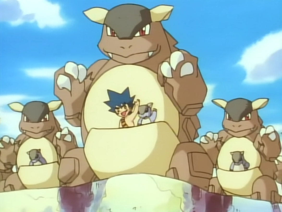 When Tomo got lost in the jungle, the Kangaskhan accepted Tomo and nursed him. When Tomo's parents decided to live in the jungle, they and Tomo decided to live with the Kangaskhan.