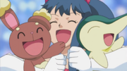 Dawn with Buneary and Cyndaquil