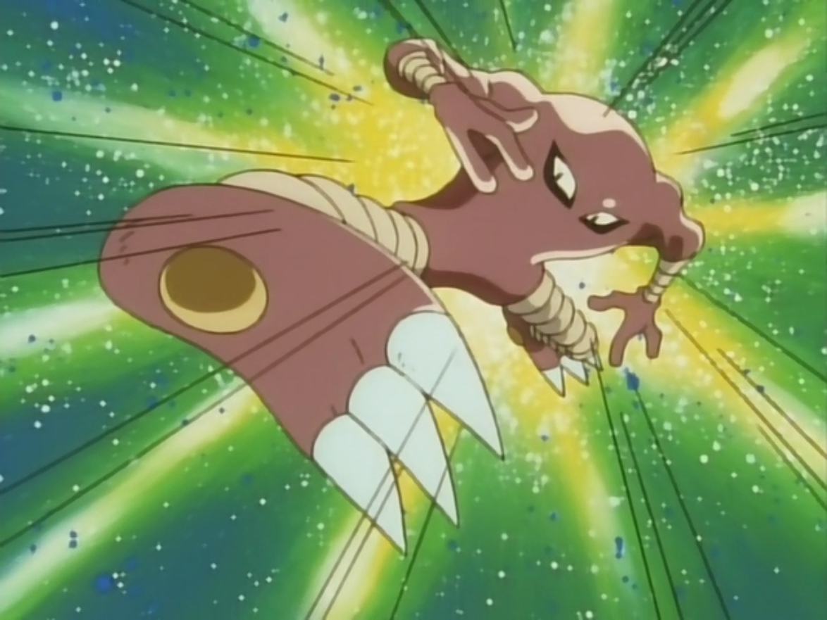 Giant and Hitmonlee were planning on entering the P1 Grand Prix until Team Rocket spotted Hitmonlee. They took Giant's clothing, Hitmonlee and locked Giant in a bathroom so they could enter the tournament to win the prize.