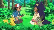 Iris,Ash, Pikachu and Axew