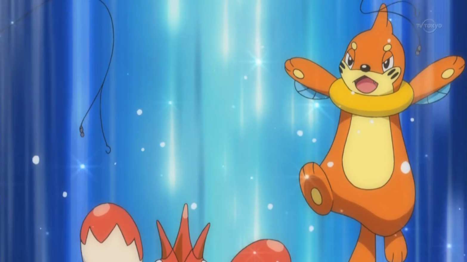 Cilan helped Soren catch a Buizel as a new addition to the team.
