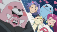 The Team Rocket trio with Bewear and Stufful