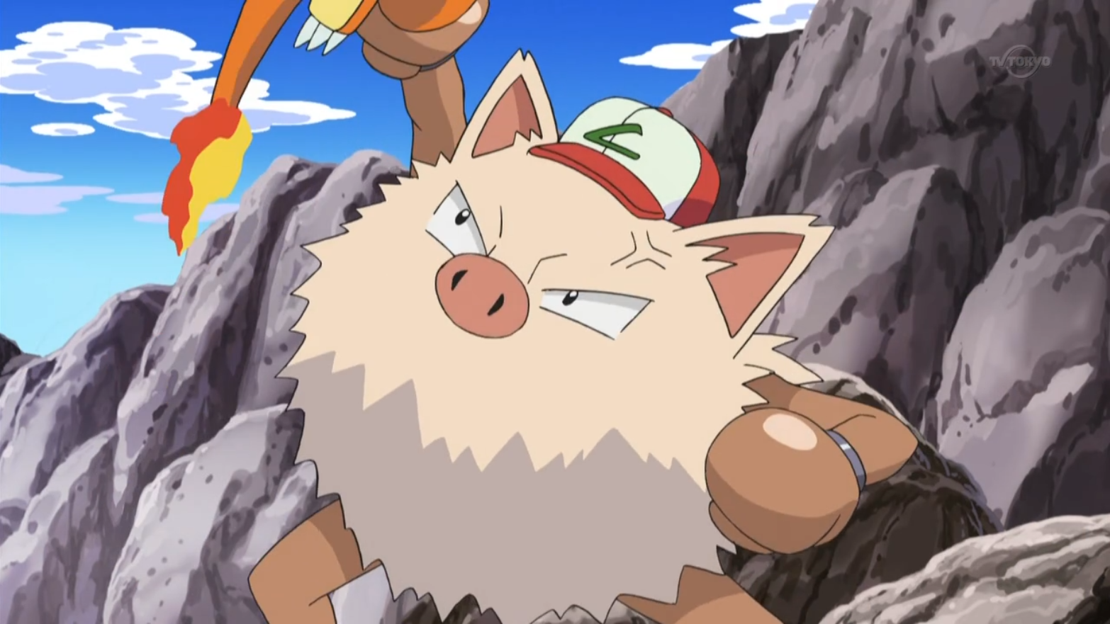 Primeape was originally Ash's. After winning the P1 Grand Prix, Anthony saw its potential and offered to train it to become a true P1 Champ and Ash and Primeape tearfully agreed.