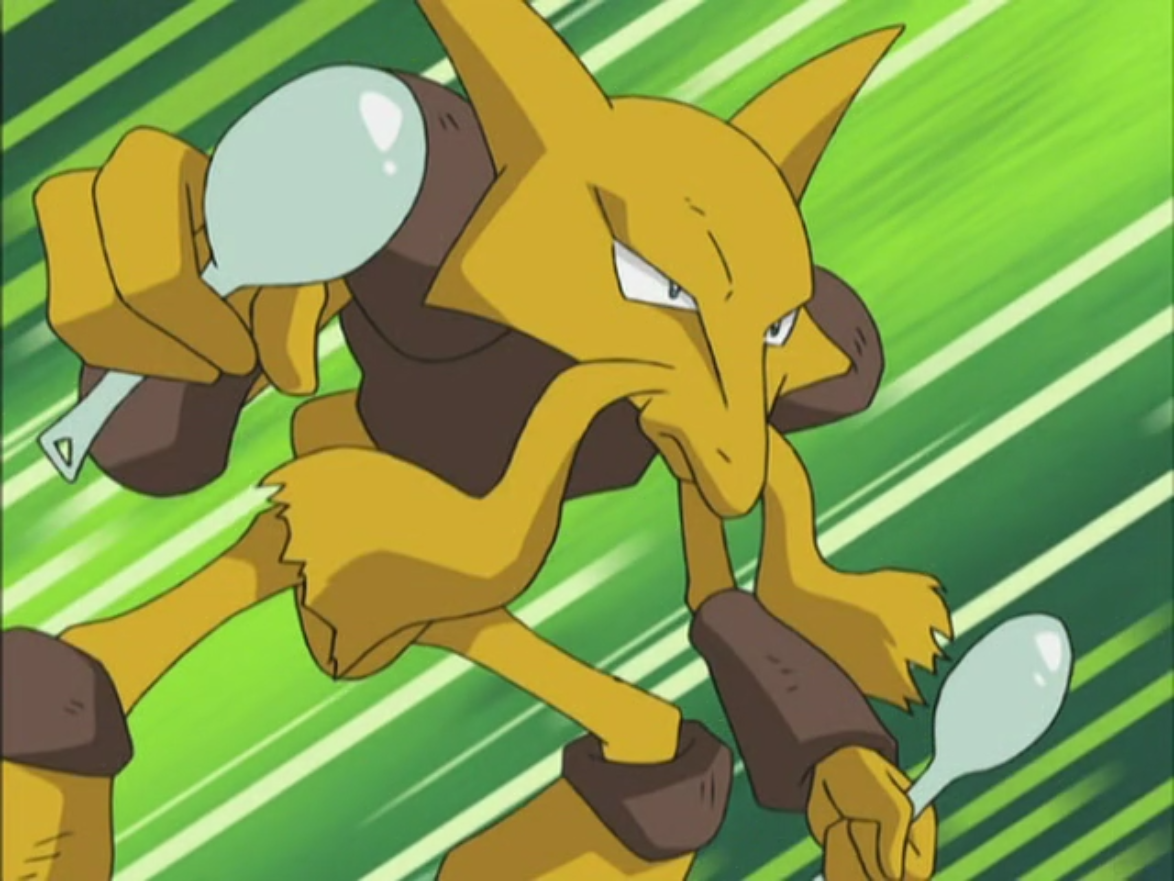 Alakazam was used when Anabel called it out to help Ash against Team Rocket. It has powerful Psychic attacks.
