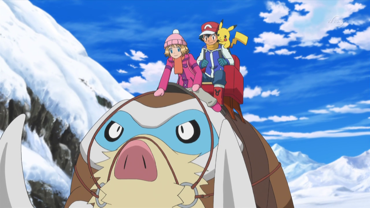 The rental owner sent two Mamoswine for Ash, Serena, Bonnie and Clemont to ride on.