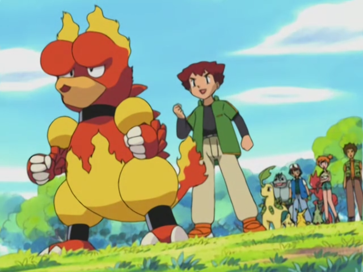 As a Magby it was seen battling with Ash's Cyndaquil and it eventually defeated it. During the same episode Team Rocket captured it and other Pokémon. This is when it evolved into Magmar.