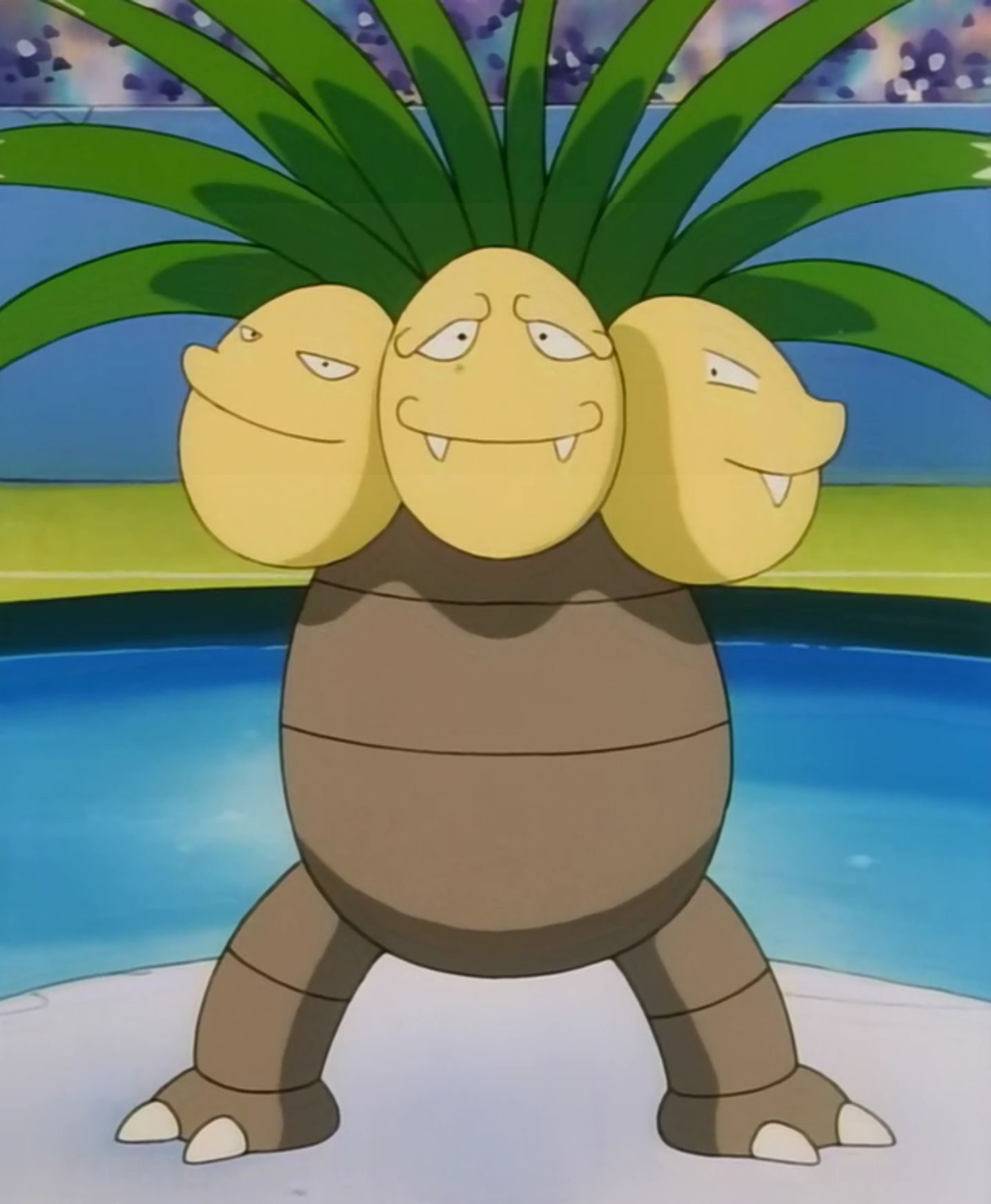 Exeggutor was the first Pokémon Mandi used against Ash. Though powerful, it lost to Ash's Krabby, which evolved into Kingler.