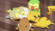 Goh Grookey Playing With Ash and Chloe's Pokémon
