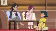 Ash, Goh and Chloe in pajamas