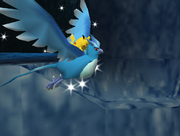 Pikachu riding on Articuno in the cave