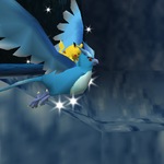 Pikachu riding on Articuno in the cave.png