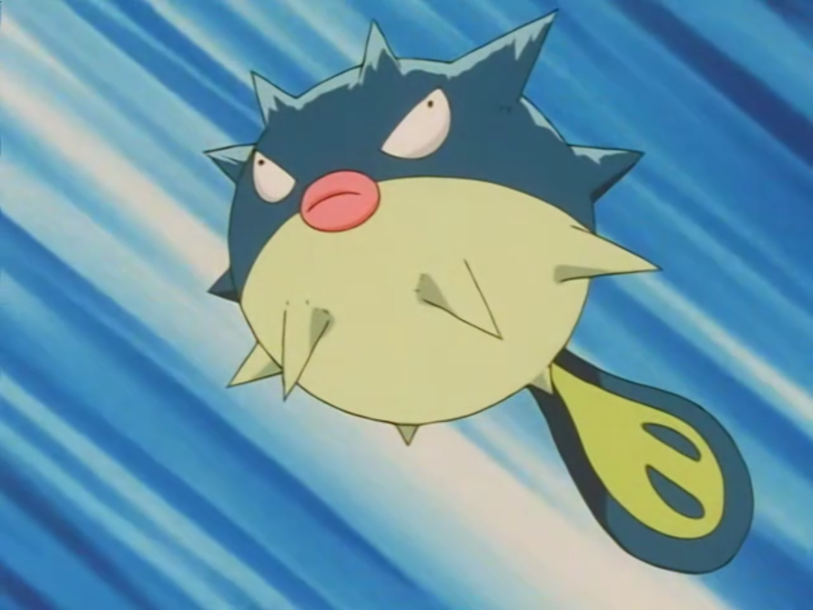 Harrison used Qwilfish in the Whirl Cup to battle Misty's Corsola, though got defeated.