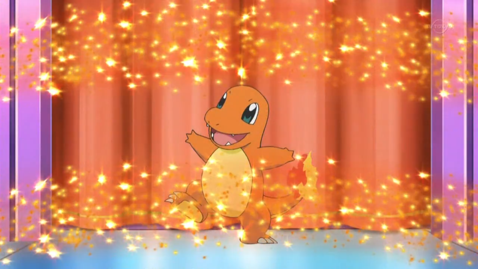 The host introduced Charmander, who got excited and carried off, knocking some parts of the stage it was on.