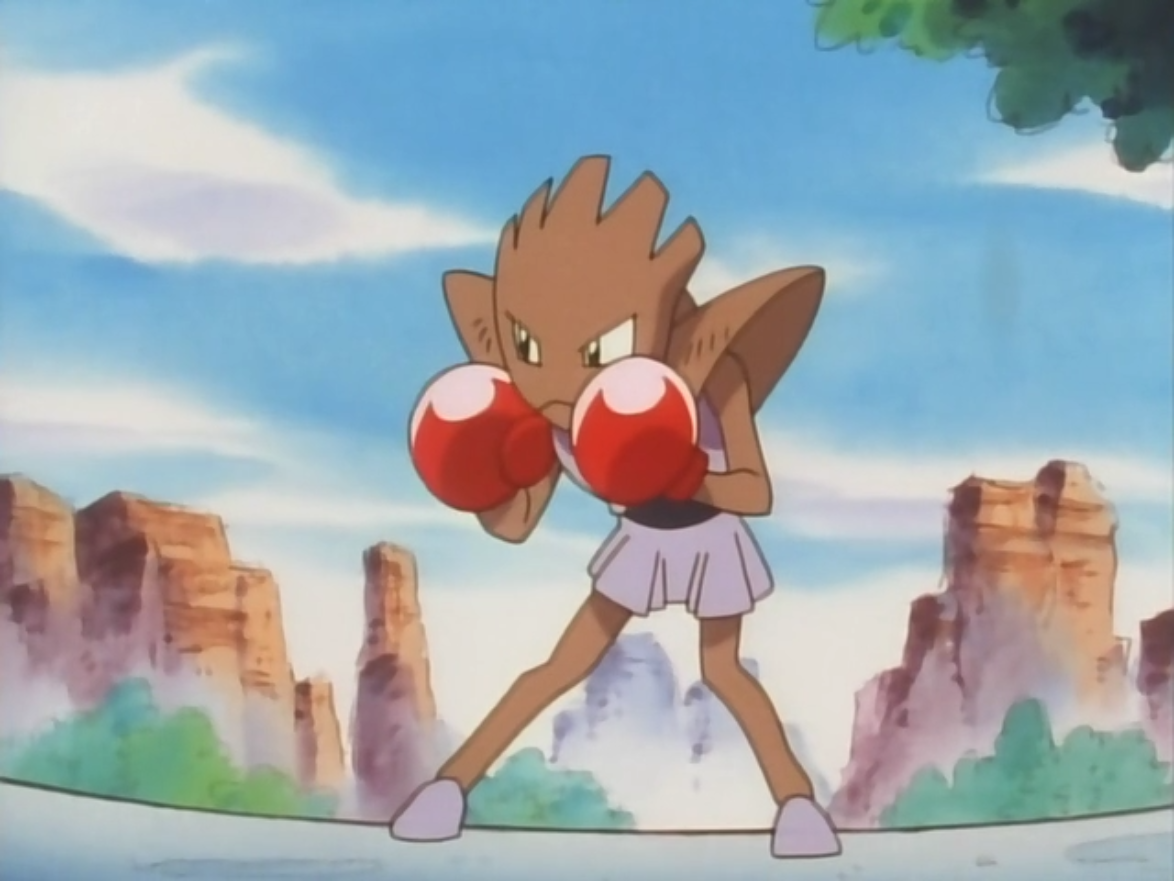 Upon first seeing it, Ash assumed it was wild and unsuccessfully attempted to capture it. Both it and its owner entered the P1 Grand Prix where it fought and defeated a Machamp. It was later forced to forfeit to Giant's stolen Hitmonlee due to Meowth's dirty tactics.