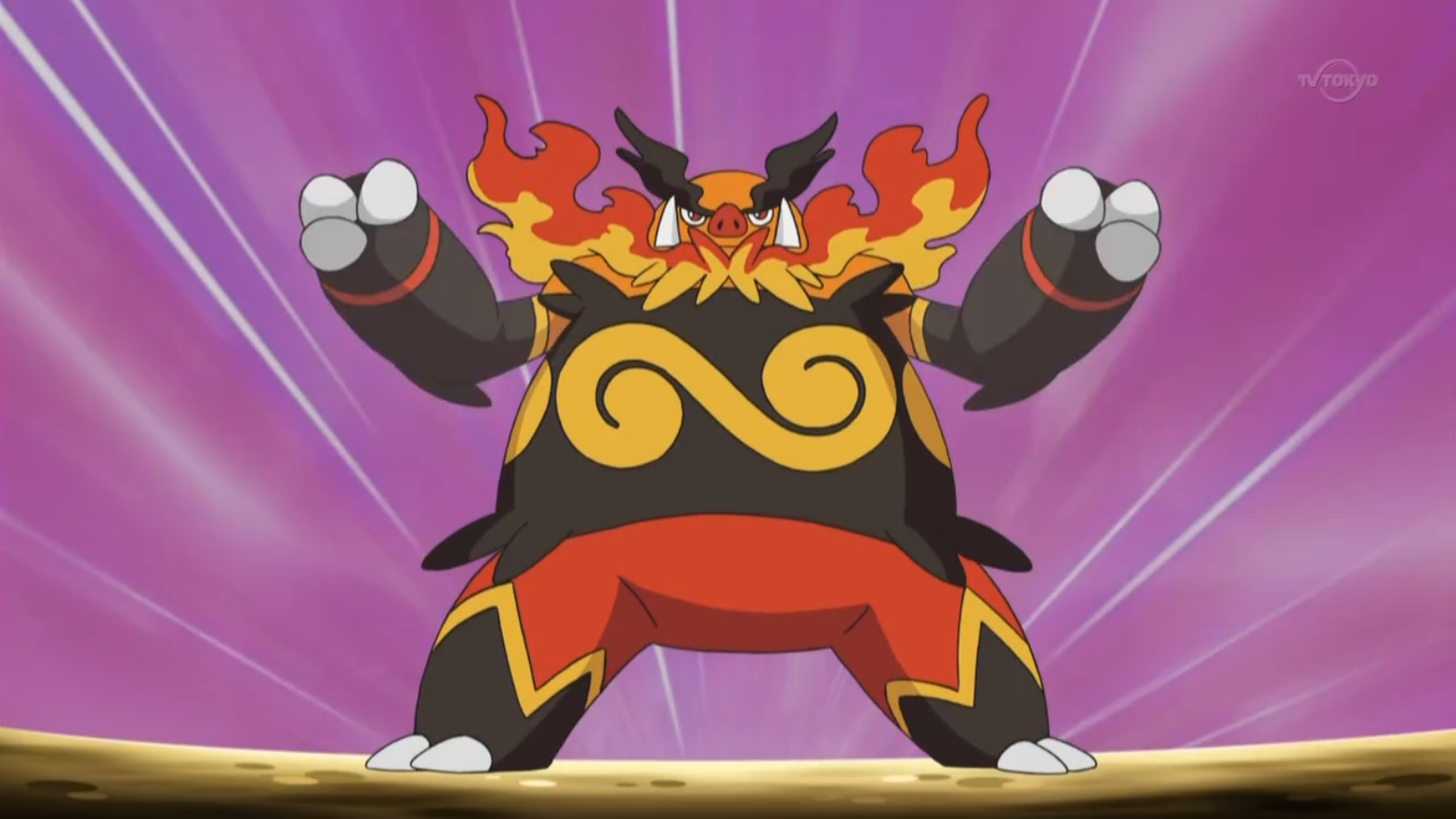 Emboar was first seen along with Heatmor when Shamus was double battling a trainer that owned a Watchog and a Mienshao. The two were able to defeat the Normal and Fighting-types. It was then used against Ash's Snivy and Tepig, but fainted when Ash's Tepig evolved into Pignite and used a Fire Pledge/Flame Charge combo. Emboar is the other Tepig who is more talented than the previous Tepig who is currently owned by Ash after Shamus reveals to Ash about his cruel nature for abandoning Tepig.